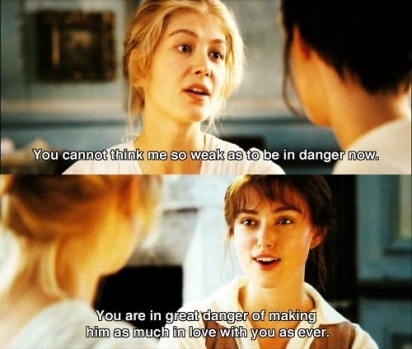 Jane Bennet Elizabeth Bennet Keira Knightley quotes from Pride and Prejudice Film
