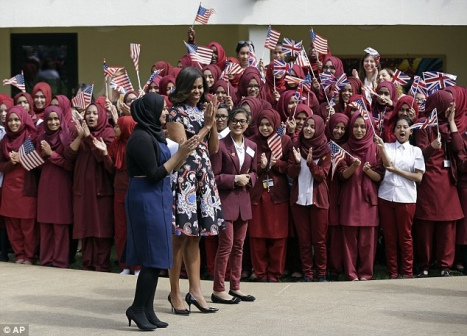 Michelle Obama visits Mulberry School for Girls